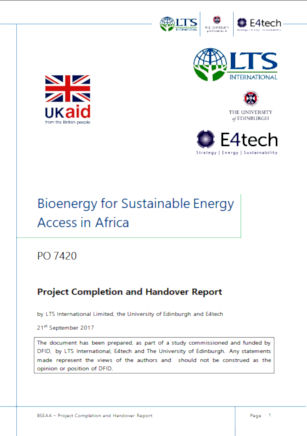 Bioenergy for Sustainable Energy Access in Africa - A scoping study of the opportunities and challenges of bioenergy replication across Sub-Saharan Africa 2018